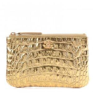 CHANEL Bags - Chanel Metallic Gold Crocodile Embossed Calfskin